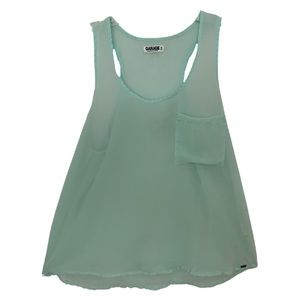 Garage Mint Green Chiffon Racerback Tank Top